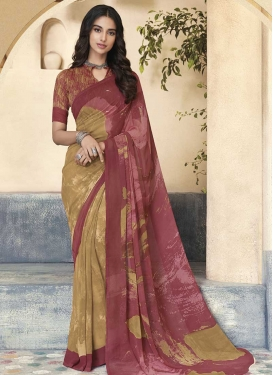 Digital Print Work Beige and Salmon Contemporary Saree