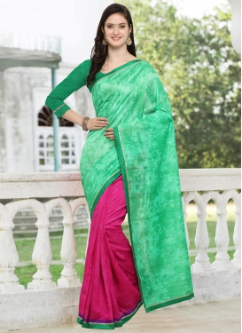 Digital Print Work Bhagalpuri Silk Half N Half Designer Saree For Casual