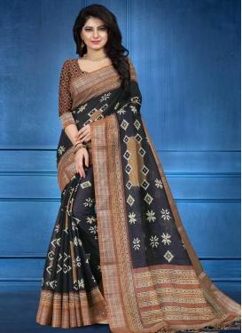 Digital Print Work Black and Brown Traditional Designer Saree