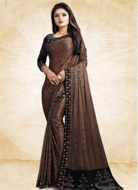 Digital Print Work Black and Brown Traditional Saree
