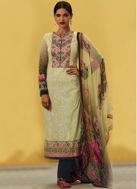 Digital Print Work Black and Cream Pant Style Pakistani Salwar Kameez