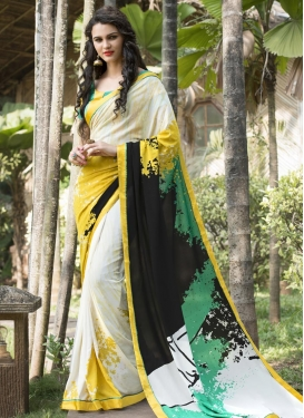 Digital Print Work Black and Green Satin Silk Contemporary Style Saree For Ceremonial