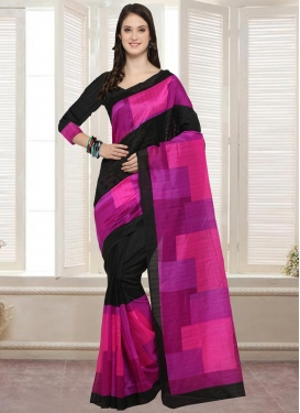 Digital Print Work Black and Magenta Trendy Saree