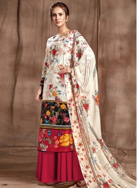 Digital Print Work Black and Off White Cotton Palazzo Style Pakistani Salwar Kameez