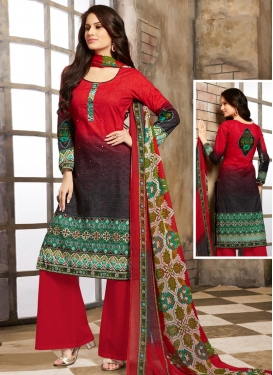 Digital Print Work Black and Red Trendy Palazzo Salwar Kameez