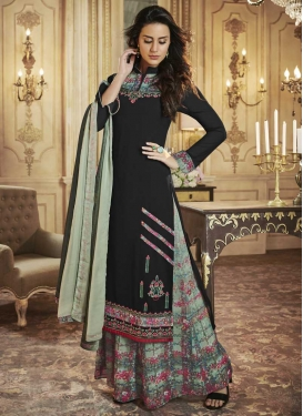 Digital Print Work Black and Sea Green Palazzo Designer Salwar Kameez