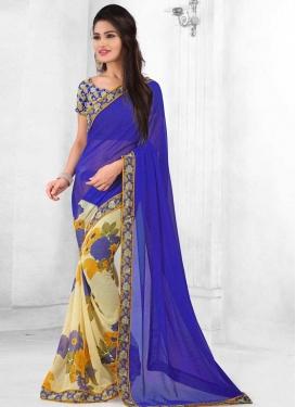 Digital Print Work Blue and Cream Designer Half N Half Saree