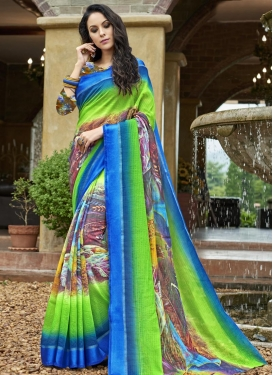 Digital Print Work Blue and Mint Green Traditional Saree