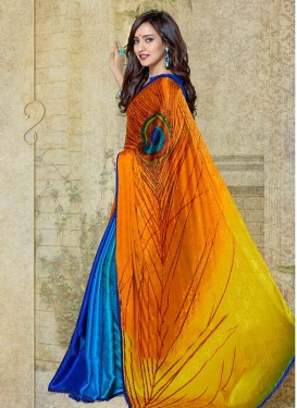 Digital Print Work Blue and Orange Half N Half Trendy Saree