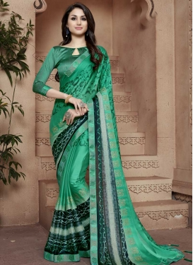 Digital Print Work Bottle Green and Sea Green Contemporary Saree
