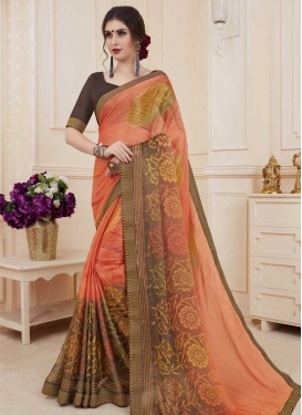 Digital Print Work Brasso Contemporary Style Saree For Ceremonial