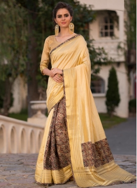 Digital Print Work Brown and Cream Designer Traditional Saree