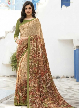 Digital Print Work Brown and Cream Traditional Designer Saree