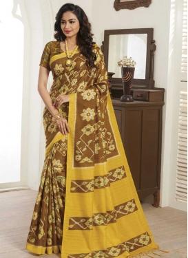 Digital Print Work Brown and Mustard Designer Traditional Saree