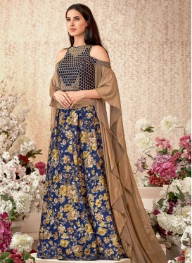Digital Print Work Brown and Navy Blue A - Line Lehenga