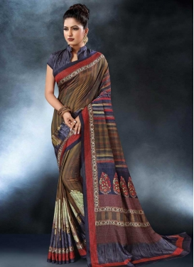 Digital Print Work Brown and Navy Blue Contemporary Saree