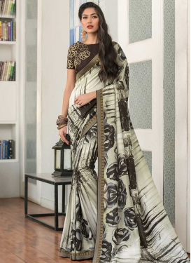 Digital Print Work Brown and Off White Trendy Saree