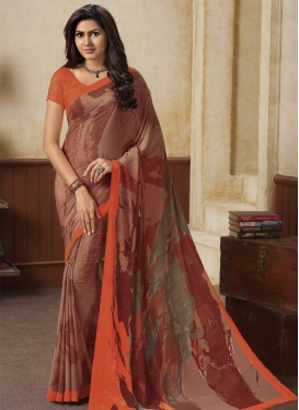 Digital Print Work Brown and Orange Trendy Classic Saree