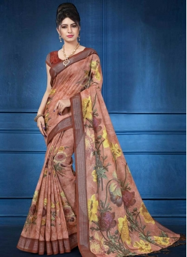 Digital Print Work Brown and Peach Contemporary Style Saree
