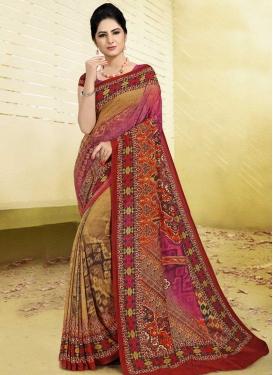 Digital Print Work Brown and Rose Pink Traditional Designer Saree