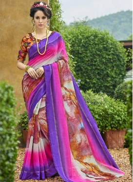 Digital Print Work Chanderi Silk Contemporary Saree For Casual