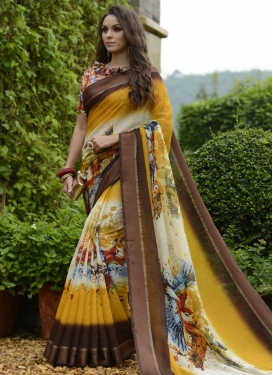 Digital Print Work Chanderi Silk Trendy Classic Saree