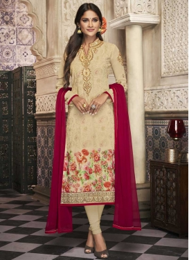 Digital Print Work Churidar Designer Suit