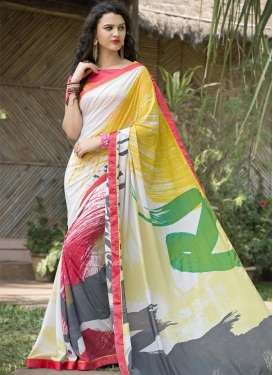 Digital Print Work Classic Saree For Ceremonial