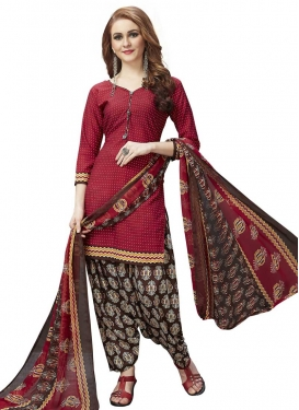 Digital Print Work Coffee Brown and Red Crepe Silk Semi Patiala Salwar Suit