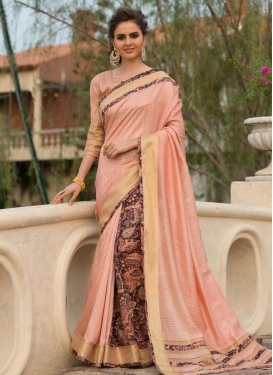 Digital Print Work Coffee Brown and Salmon Traditional Designer Saree