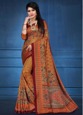 Digital Print Work Contemporary Style Saree For Ceremonial