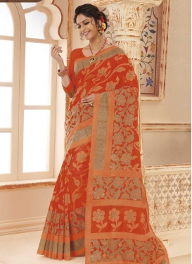 Digital Print Work Coral and Tomato Designer Contemporary Style Saree
