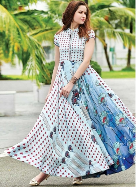 Digital Print Work Cotton Satin Light Blue and White Readymade Classic Gown