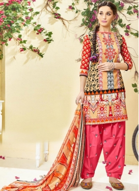 Digital Print Work Cotton  Semi Patiala Salwar Suit