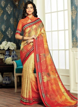 Digital Print Work Cotton Silk Contemporary Saree