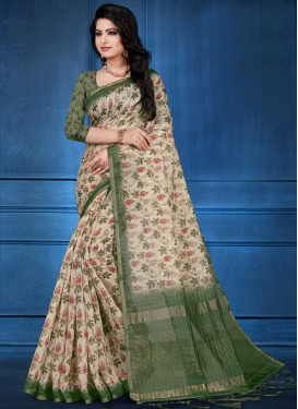 Digital Print Work Cotton Silk Traditional Designer Saree For Festival