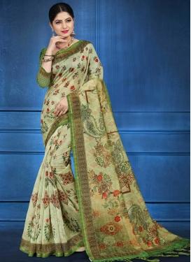 Digital Print Work Cotton Silk Traditional Saree For Ceremonial