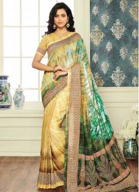 Digital Print Work Cream and Green Classic Designer Saree