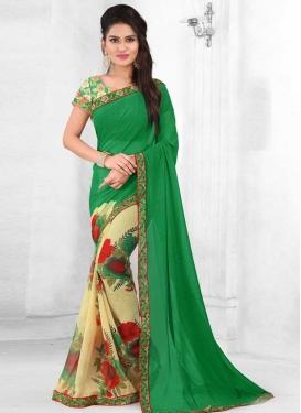 Digital Print Work Cream and Green Half N Half Designer Saree