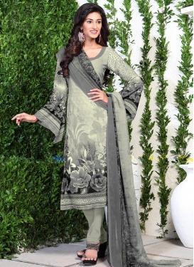 Digital Print Work Cream and Grey Crepe Silk Trendy Churidar Salwar Suit