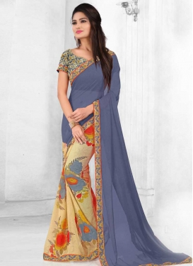 Digital Print Work Cream and Grey Half N Half Saree