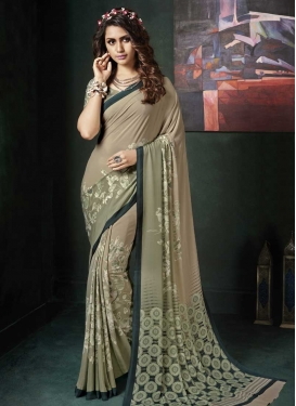 Digital Print Work Crepe Silk Beige and Sea Green Trendy Saree