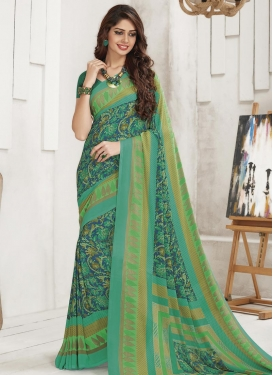 Digital Print Work Crepe Silk Blue and Sea Green Contemporary Style Saree
