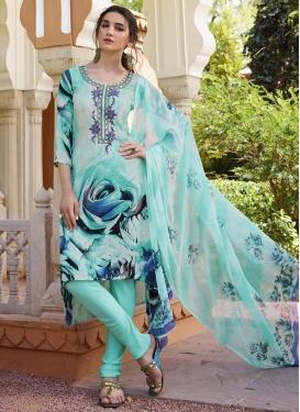 Digital Print Work Crepe Silk Churidar Suit