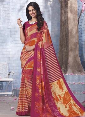 Digital Print Work Crepe Silk Classic Saree For Casual
