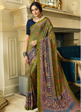 Digital Print Work Crepe Silk Designer Contemporary Saree
