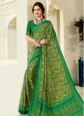 Digital Print Work Crepe Silk Designer Traditional Saree For Casual