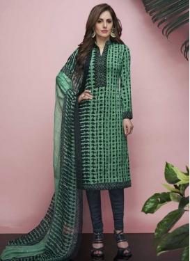 Digital Print Work Crepe Silk Grey and Sea Green Churidar Salwar Suit