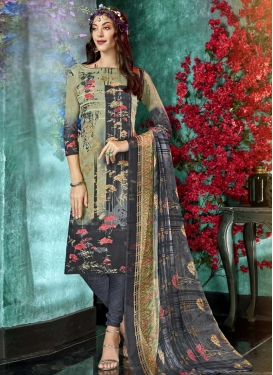 Digital Print Work Crepe Silk Grey and Sea Green Churidar Suit