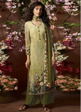 Digital Print Work Crepe Silk Olive and Sea Green Palazzo Style Pakistani Salwar Kameez